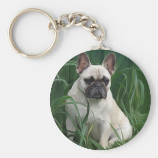 Rosey in the grass basic round button keychain