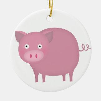 Rosey pig ceramic ornament