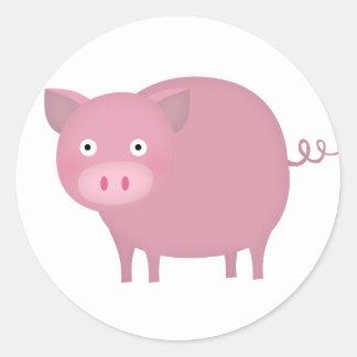 Rosey pig classic round sticker