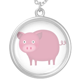 Rosey pig round pendant necklace