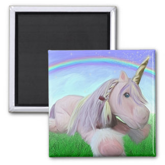 Rosey the unicorn 2 inch square magnet