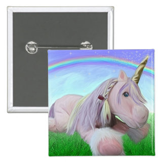Rosey the unicorn pinback button