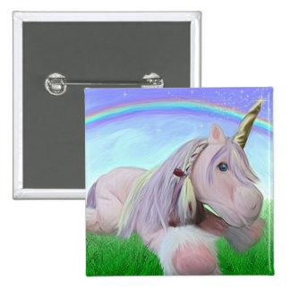 Rosey the unicorn pinback button