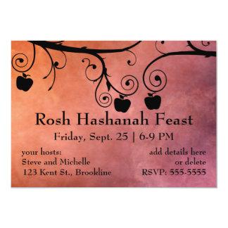 """Rosh Hashanah Apple siluetea Invitación 5"""" X 7"""""""