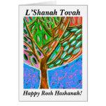 Rosh Hashanah - árbol de cielo azul de la tarjeta