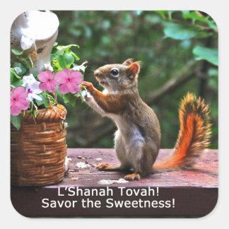 Rosh Hashanah carda los regalos Pegatina Cuadrada