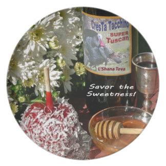 Rosh Hashanah carda los regalos Plato De Comida