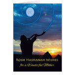 Rosh Hashanah for Mother, Shofar Horn and Sky Greeting Card