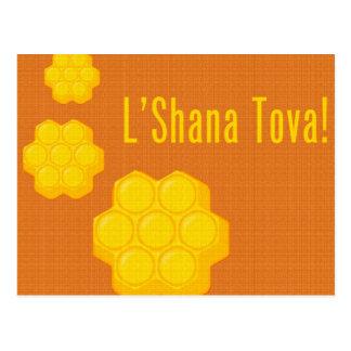 rosh hashanah l'shana tova honeycombs postcard