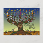 """Rosh Hashanah L'Shanah Tovah Tree Of Life Menorah Holiday Postcard<br><div class=""""desc"""">You are viewing The Lee Hiller Designs Collection of Home and Office Decor,  Apparel,  Gifts and Collectibles. The Designs include Lee Hiller Photography and Mixed Media Digital Art Collection. You can view her Nature photography at http://HikeOurPlanet.com/ and follow her hiking blog within Hot Springs National Park.</div>"""