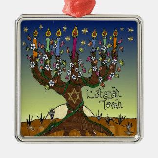 Rosh Hashanah L'Shanah Tovah Tree Of Life Menorah Metal Ornament