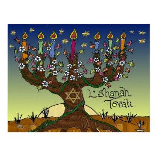 Rosh Hashanah L'Shanah Tovah Tree Of Life Menorah Postcard