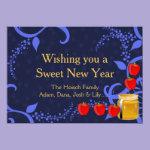 Rosh Hashanah on Blue Flat Greeting Card