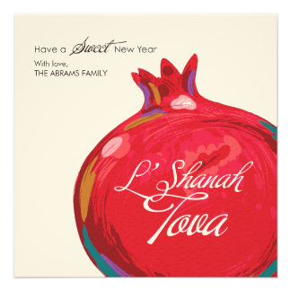Rosh Hashanah Pomegranate Flat Card Custom Announcement