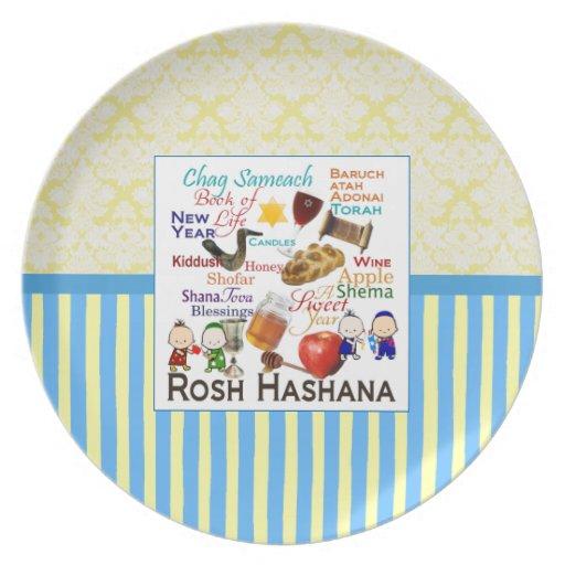 Rosh Hashanah redacta la placa Plato De Cena