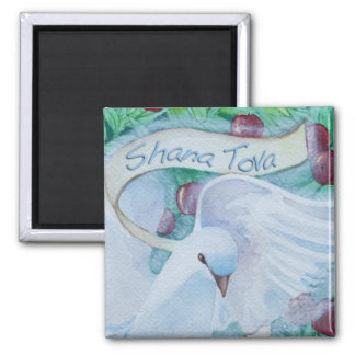 Rosh Hashanah Shana Tova Dove with Apples 2 Inch Square Magnet