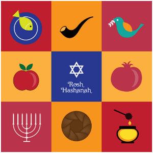 Rosh Hashanah Symbols Flat Card invitation