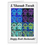 Rosh Hashanah: Vintage negro y azul Tapastry de Felicitación
