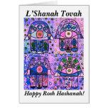 Rosh Hashanah - vintage rosado Tapastry de cuatro  Felicitaciones