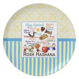 Rosh Hashanah Words Plate