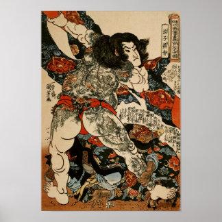 Roshi Ensei with Tattoos Kuniyoshi Fine Art Poster