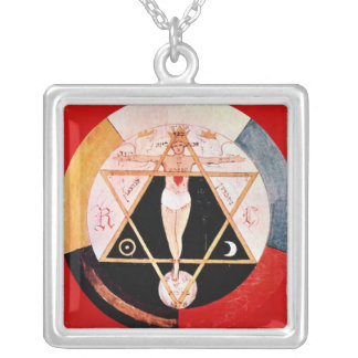 Rosicrucian symbol of the Hermetic Order Silver Plated Necklace