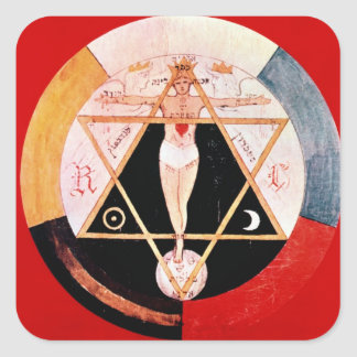 Rosicrucian symbol of the Hermetic Order Square Sticker
