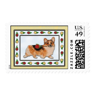 """Rosie"" Corgi with Red Rose Postage"