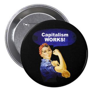 ¡Rosie dice trabajos del capitalismo! botones Pin Redondo De 3 Pulgadas