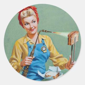 Rosie el remachador hace el queso tostado etiquetas redondas