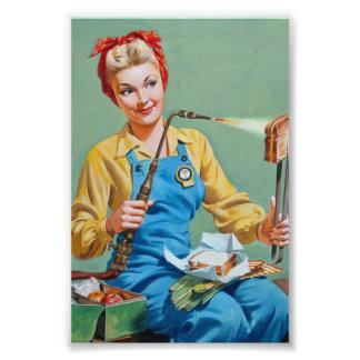 Rosie el remachador hace el queso tostado fotografias