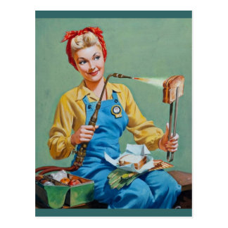 Rosie el remachador hace el queso tostado tarjetas postales