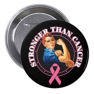Rosie el remachador más fuerte que cáncer de pecho pin redondo de 3 pulgadas