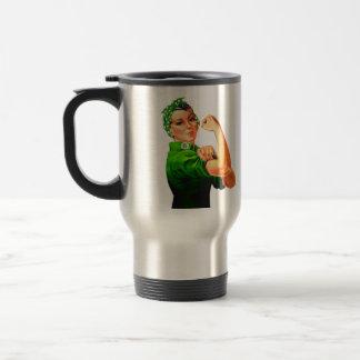 Rosie el remachador - militar verde taza de viaje de acero inoxidable