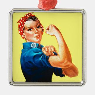 Rosie el remachador - podemos hacerlo, icono adorno navideño cuadrado de metal