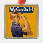 ¡Rosie el remachador podemos hacerlo! Lunares Adorno Cuadrado Plateado