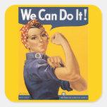 """Rosie el remachador """"podemos hacerlo """" pegatina cuadrada"""