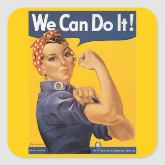 """Rosie el remachador """"podemos hacerlo """" pegatinas cuadradas personalizadas"""