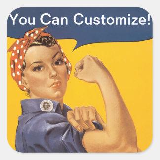 ¡Rosie el remachador podemos hacerlo! Su texto Calcomanía Cuadradas