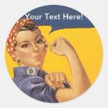¡Rosie el remachador podemos hacerlo! Su texto Pegatina Redonda