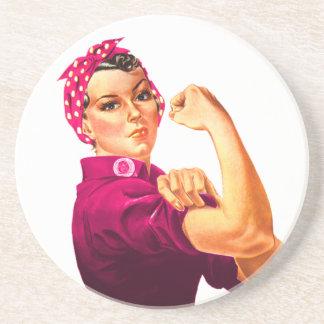Rosie el remachador - rosa del cáncer posavasos para bebidas