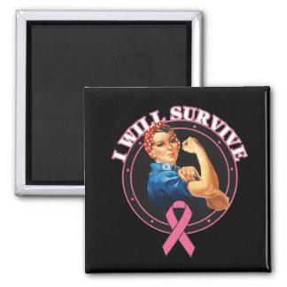 Rosie el remachador sobreviviré al cáncer de pecho imán cuadrado