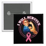 Rosie el remachador sobreviviré al cáncer de pecho pins