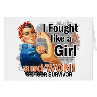 Rosie Fought Won Uterine Cancer Survivor.png Greeting Cards