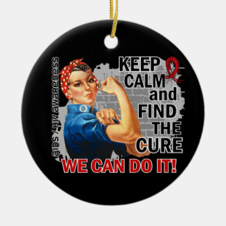 Rosie Keep Calm AIDS Double-Sided Ceramic Round Christmas Ornament