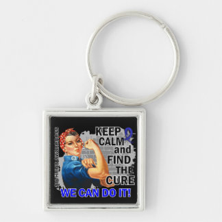Rosie Keep Calm Arthritis Silver-Colored Square Keychain