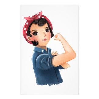 ¡rosie las mujeres del remachador podemos hacerlo!  papeleria de diseño