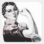 Rosie los pegatinas del remachador calcomania cuadrada personalizada