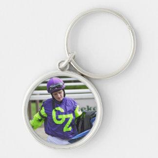 Rosie Napravnik at Saratoga Silver-Colored Round Keychain