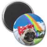Rosie Pug Riveter - Rainbow Magnet